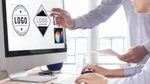 stock photo of logos on computer screen