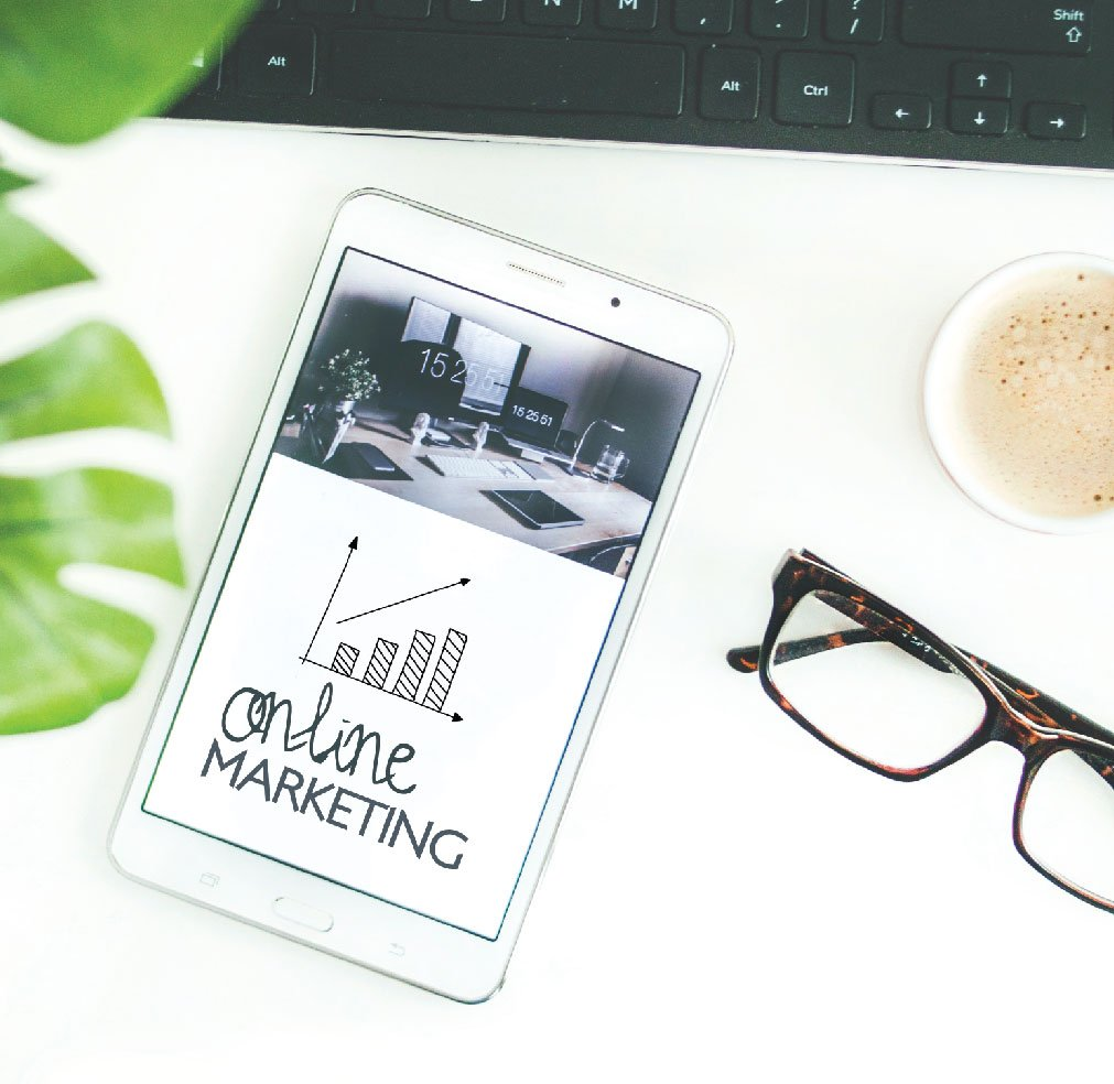 phone with online marketing stock photo