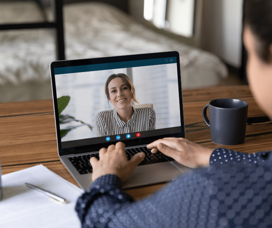 stock photo of video chatting