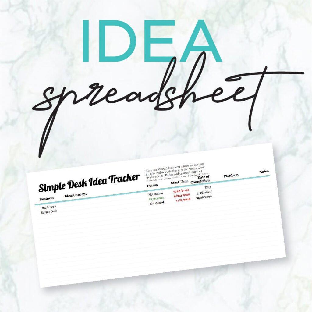 idea speadsheet